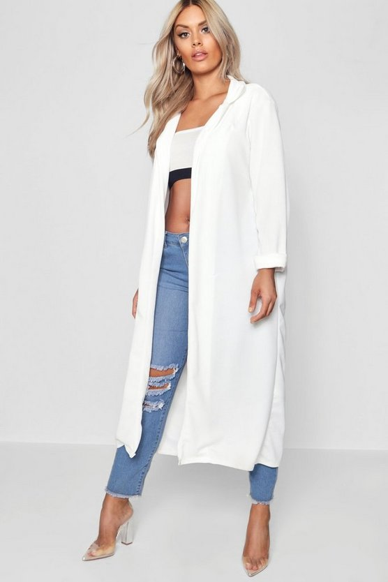 Womens White Plus  Crepe Longline Duster