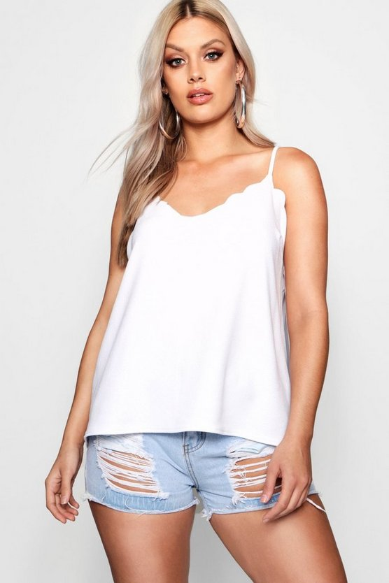 Womens White Plus  Scalloped Edge Cami Top