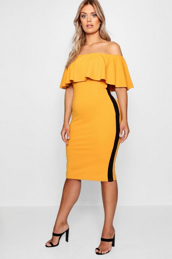 Plus Ruffle Sports Stripe Midi Dress