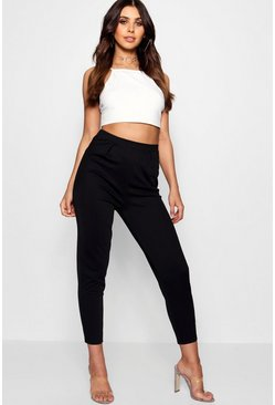 Womens Black Petite Pleat Front Pants