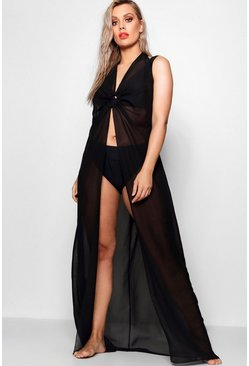 Womens Black Plus O Ring Full Length Beach Maxi Dress