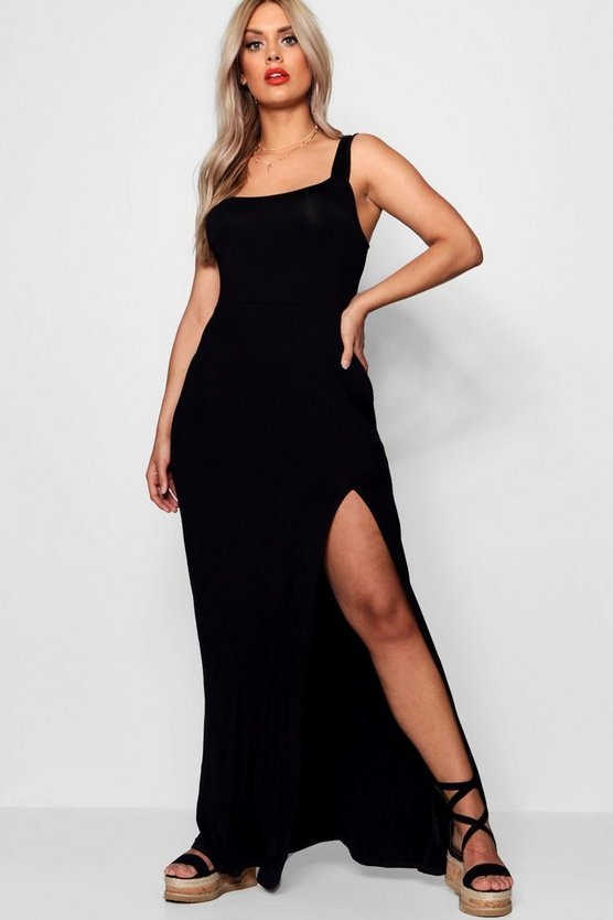 Womens Black Plus Square Neck High Split Maxi Dress