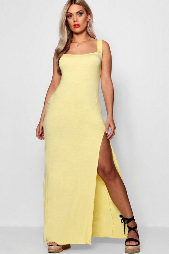Womens Lemon Plus Square Neck High Split Maxi Dress