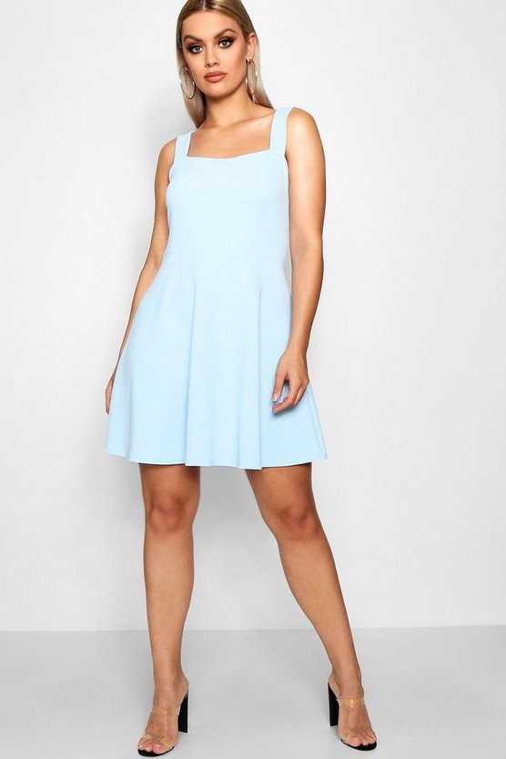 Plus Crepe Square Neck Skater Dress