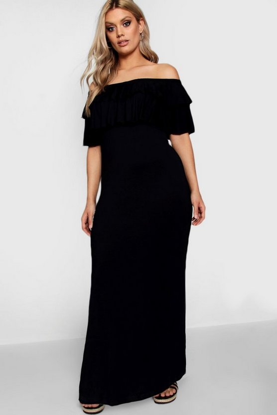 Womens Black Plus  Off Shoulder Ruffle Maxi Dress