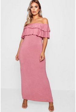Womens Blush Plus  Off Shoulder Ruffle Maxi Dress
