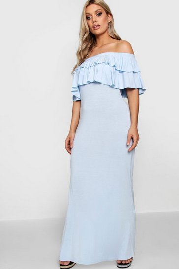 Womens Sky Plus  Off Shoulder Ruffle Maxi Dress