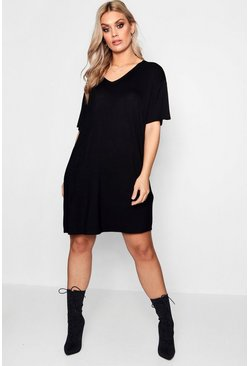 Womens Black Plus  V Neck T Shirt Dress