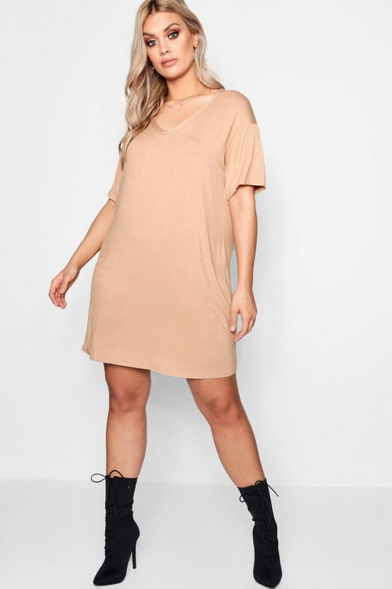 Plus V Neck T Shirt Dress
