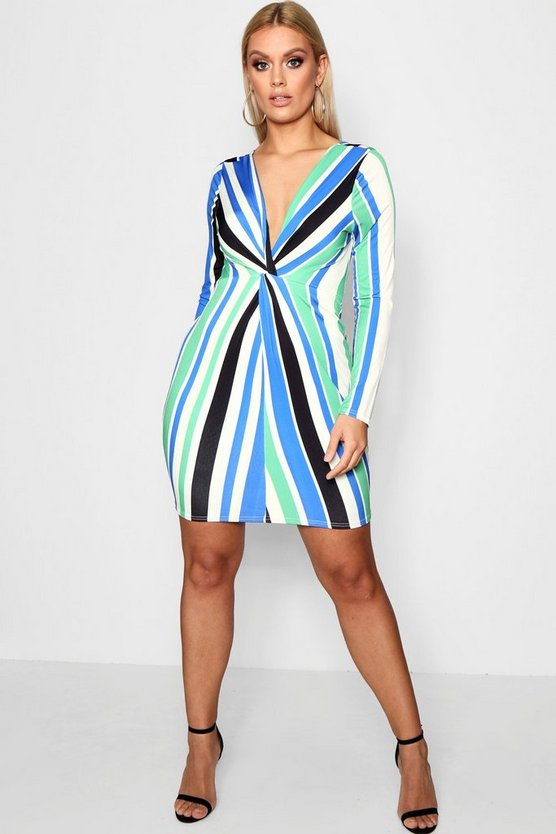 Plus Striped Knot Detail Dress