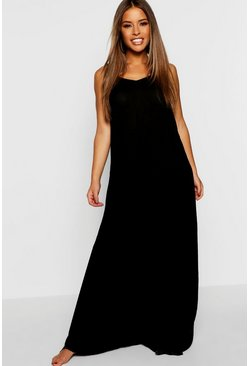 Womens Black Petite Sarah V Back Cheesecloth Beach Maxi Dress