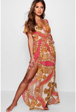 Womens Pink Petite Scarf Print Wrap Beach Maxi Dress