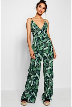Womens Black Petite Palm Print Wrap Front Jumpsuit