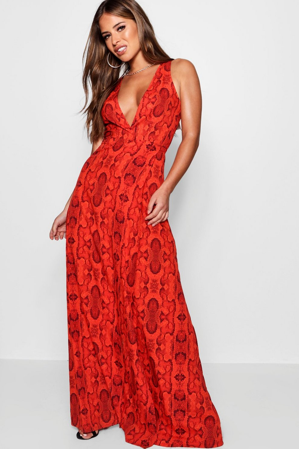 a8a2a6e429 Petite Snake Print Wrap Maxi Dress