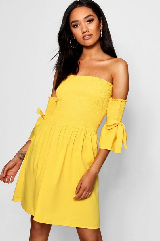 Petite Shirred Detail Tie Sleeve Skater Dress