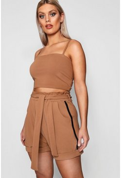 Womens Plus High Waist Turn Up Short
