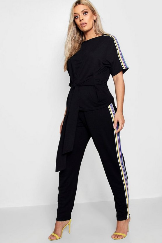 Plus Side Tape Tie Top + Jogger Set