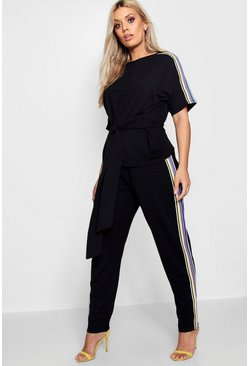 Womens Black Plus  Side Tape Tie Top + Jogger Set
