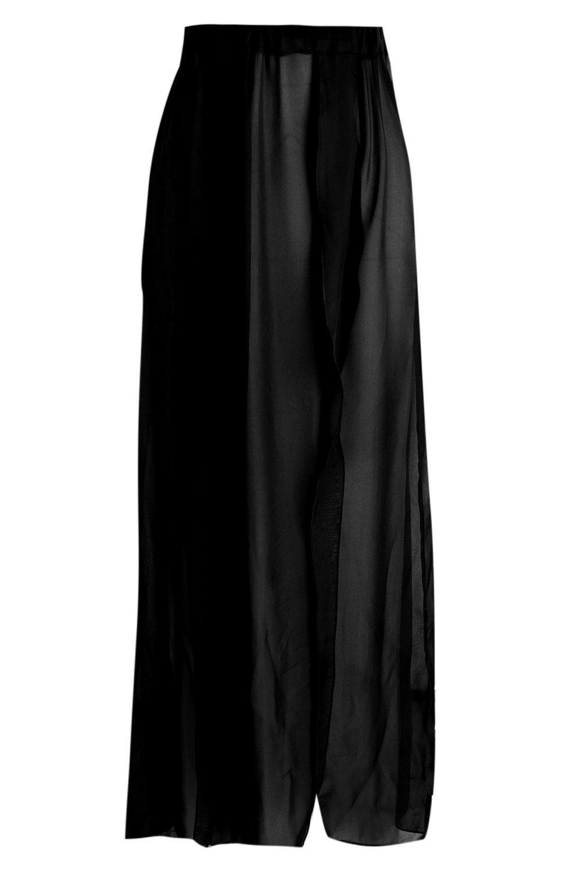 playa abertura chifón maxi Falda de plus con negro de xZTfY