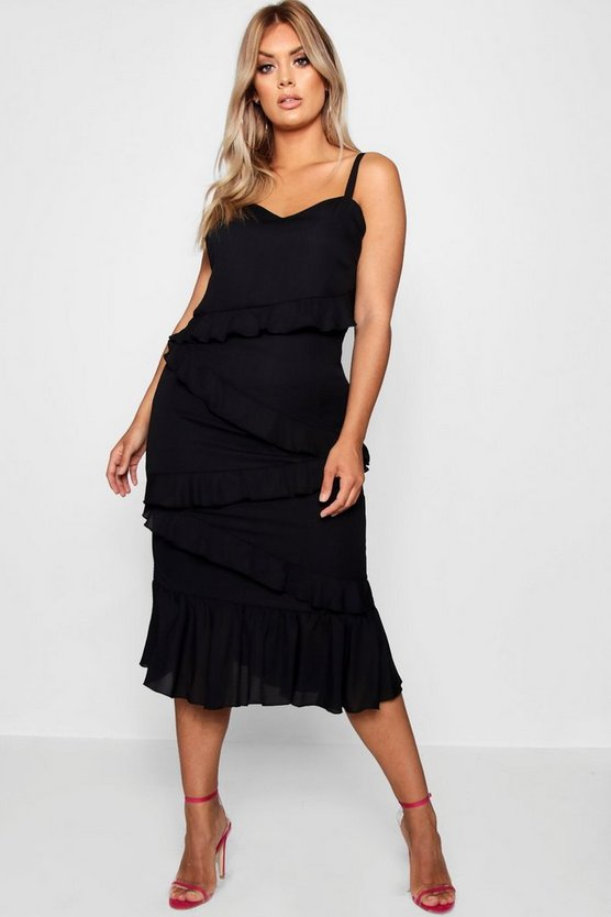 Plus Multi Ruffle Midi Dress, Black, DAMEN
