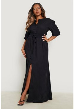 Plus Ruched Waist Maxi Dress, Black, Femme
