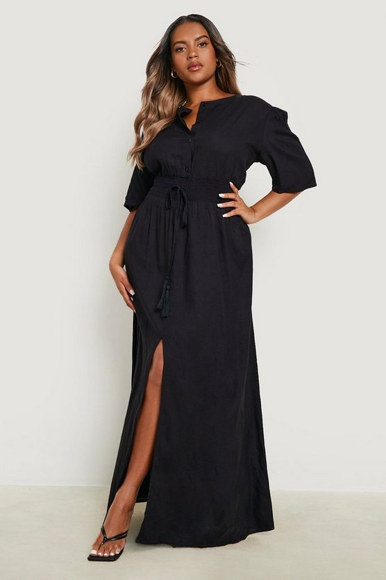 Plus Ruched Waist Maxi Dress, Black, Donna