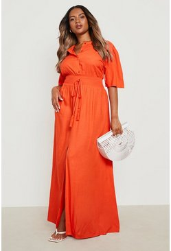 Orange Plus Ruched Waist Maxi Dress