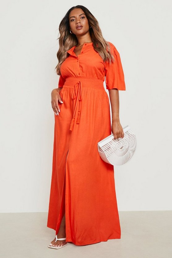 Womens Orange Plus Ruched Waist Maxi Dress