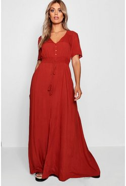 Plus Ruched Waist Maxi Dress, Rust, Femme