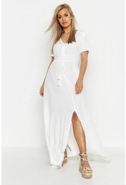 Plus Ruched Waist Maxi Dress, White, FEMMES
