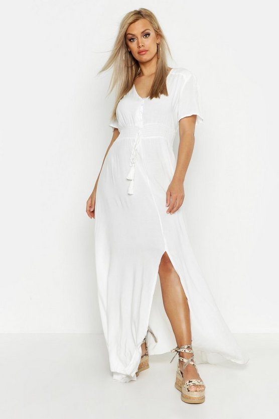 Womens White Plus Ruched Waist Maxi Dress