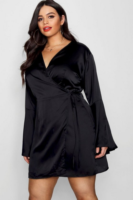 Plus Wrap Kimono Sleeve Dress