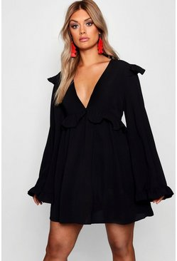 Black Plus Plunge Ruffle Detail Skater Dress