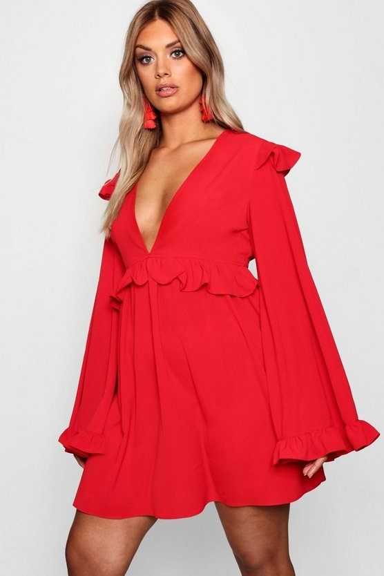 Womens Fire red Plus Plunge Ruffle Detail Skater Dress