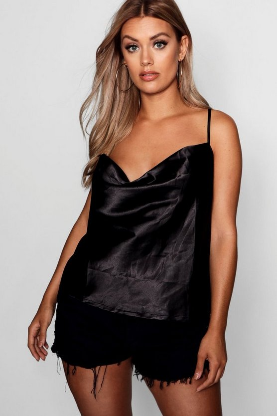 Womens Black Plus Cross Back Cowl Neck Satin Cami
