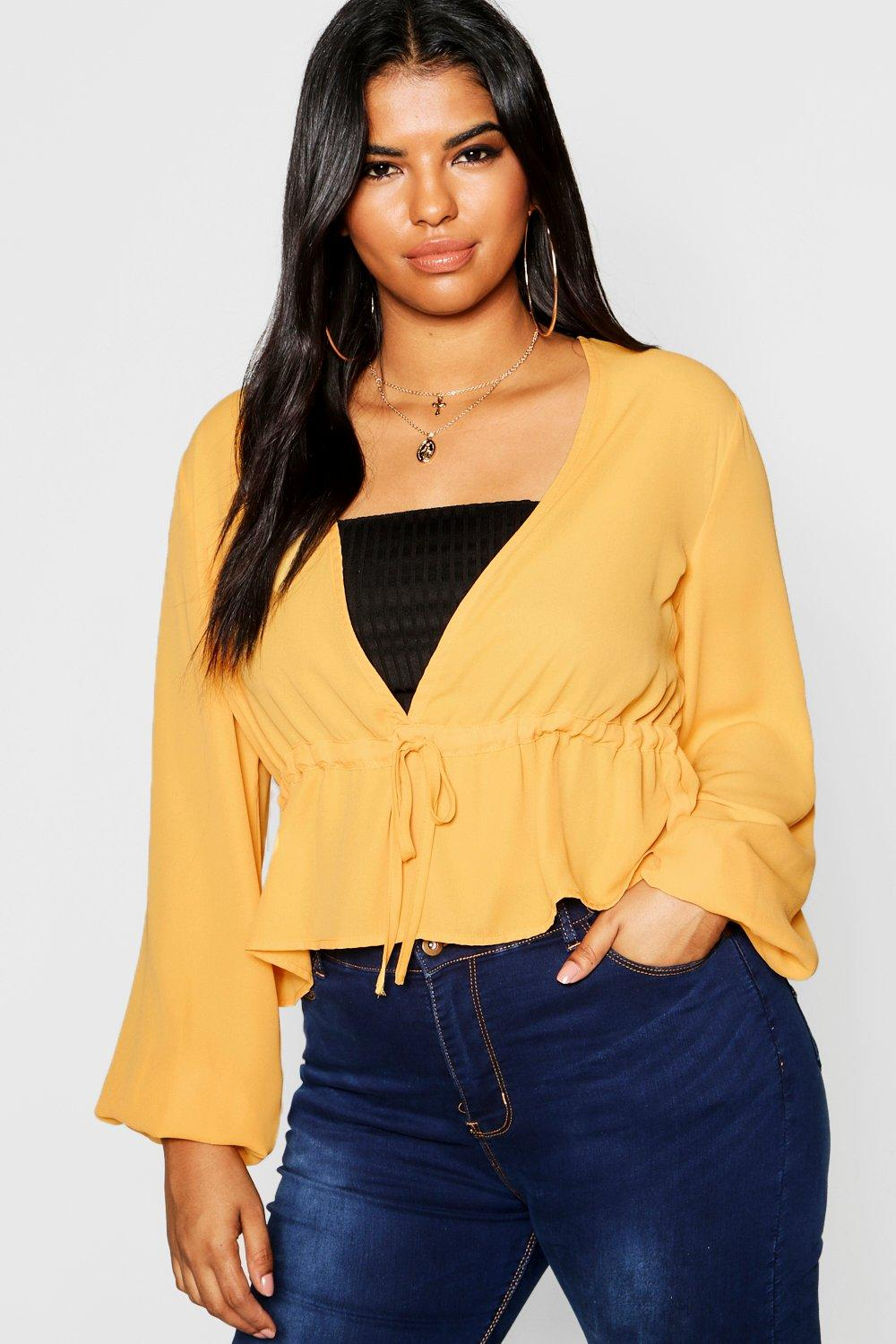 Sleeve Front Split Top mustard Tie Plus aO5T4qw4x