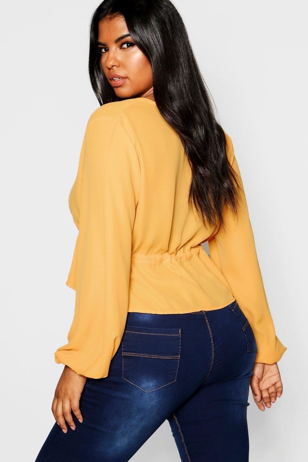 Split Tie Sleeve Top Front mustard Plus 0nUdxvzU