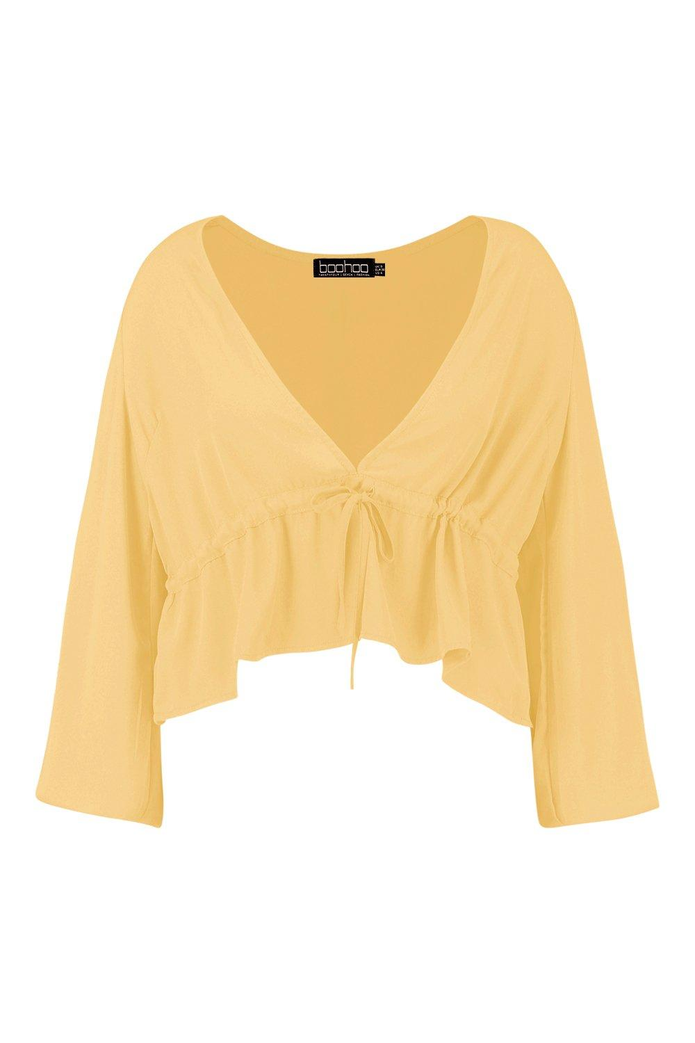 Tie Top Front Plus Split mustard Sleeve xT4SY4qE