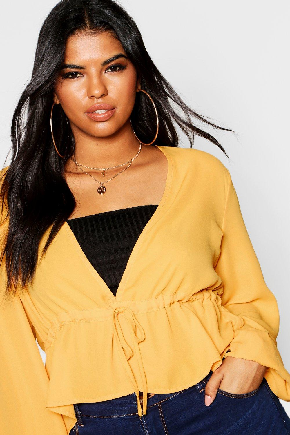 mustard Split Top Tie Plus Front Sleeve nqBUwOwXY