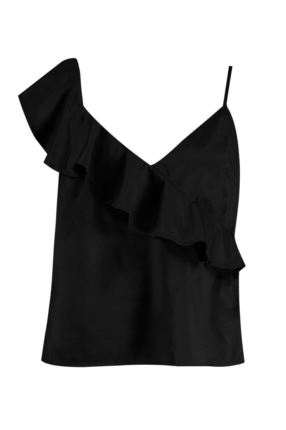 Annie Tie Sleeve black Top Cami Ruffle Front Plus w4qxW7dfOw