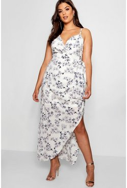 Womens Ivory Plus Eliza Wrap Ruched Floral Maxi Dress