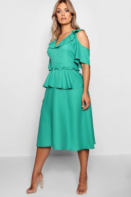 Plus Double Frill Cold Shoulder Midi Dress