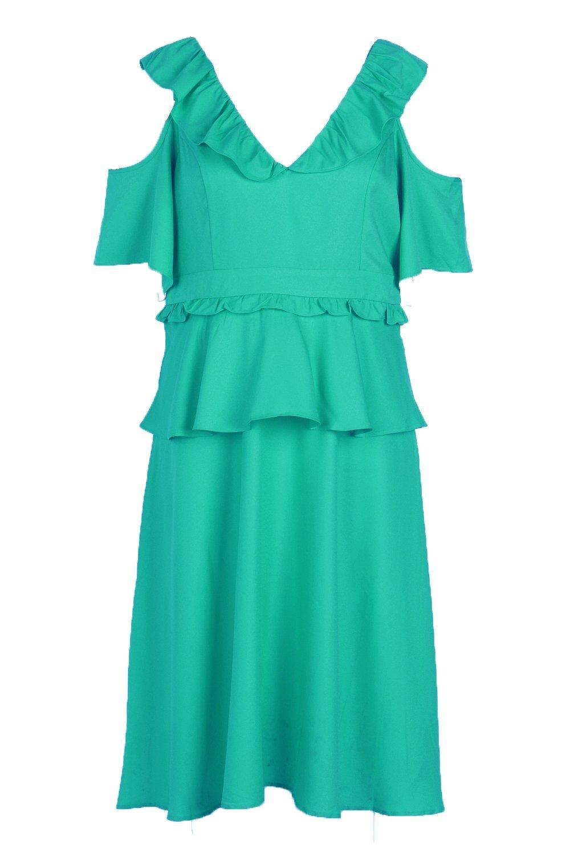 53ffd958810d Boohoo Womens Plus Size Double Frill Cold Shoulder Midi Dress | eBay