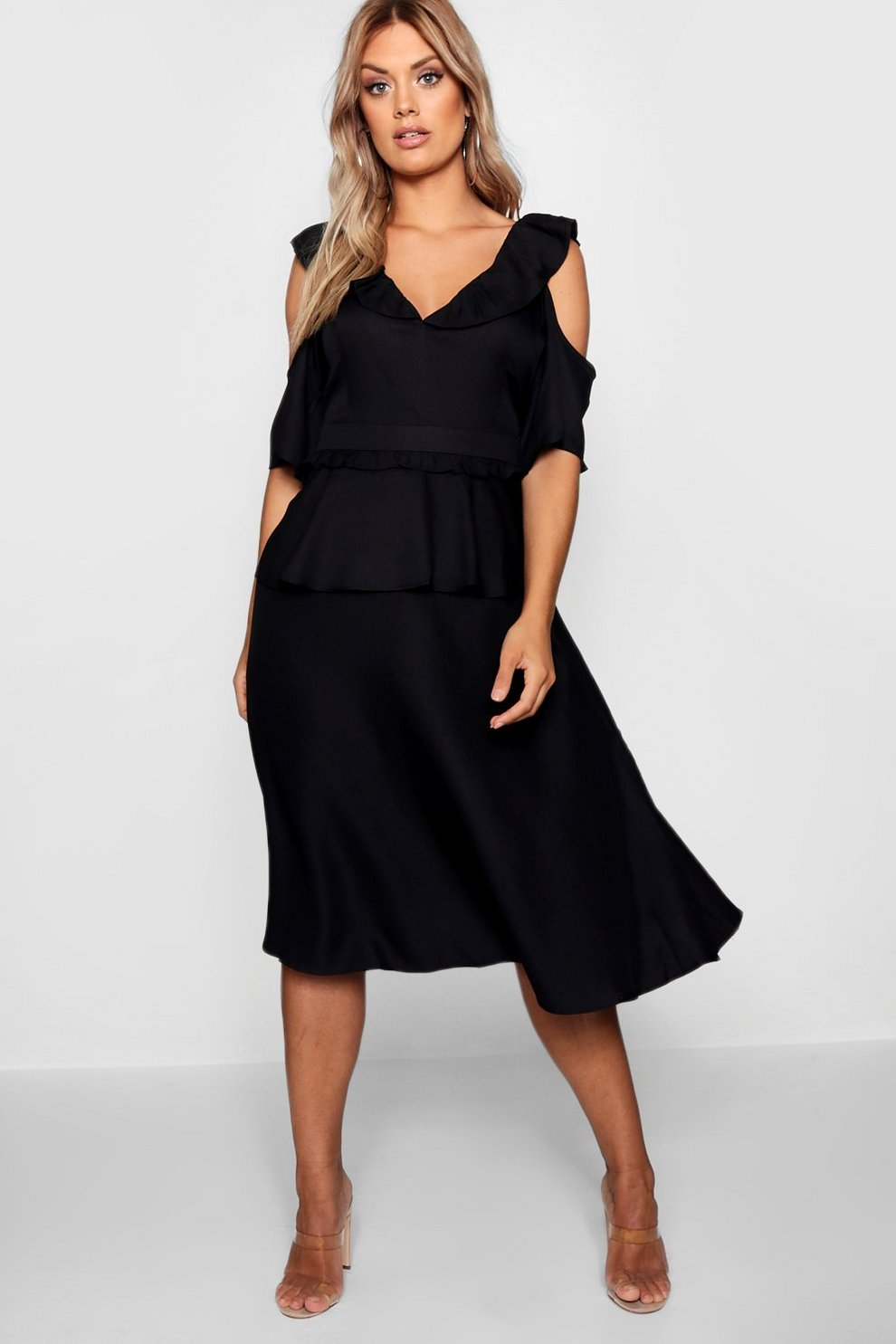 b2aae10bfde8 Plus Double Frill Cold Shoulder Midi Dress | Boohoo
