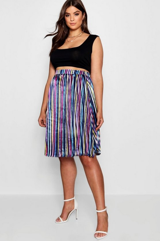 Plus Louise Stripe Pleated Midi Skirt