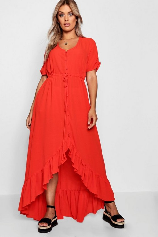 Plus Button Front Ruffle Hem Maxi Dress