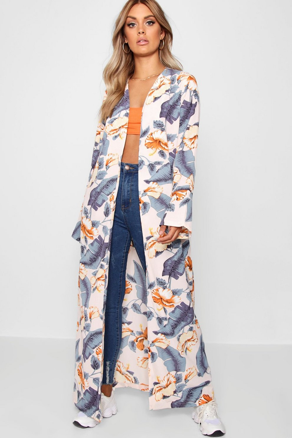 15d66040cf7f Plus Longline Floral Kimono   Boohoo