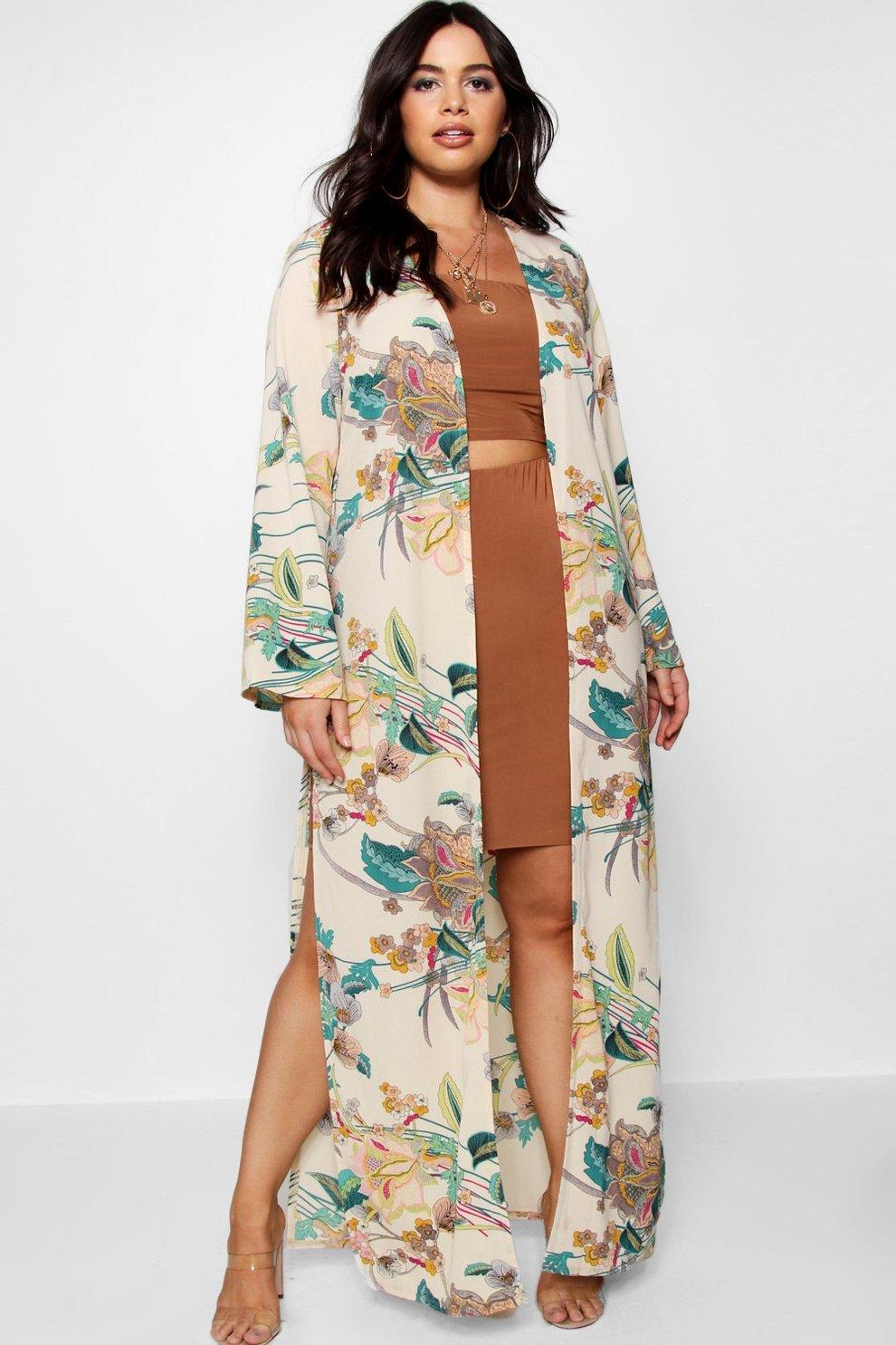 d57ca6b823bc Plus Paisley Floral Longline Kimono   Boohoo