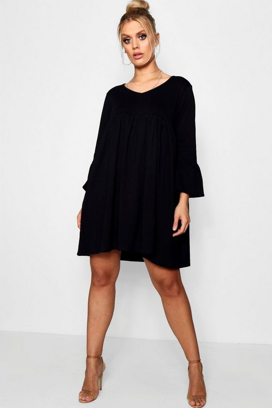 Black Plus V Neck Smock Dress