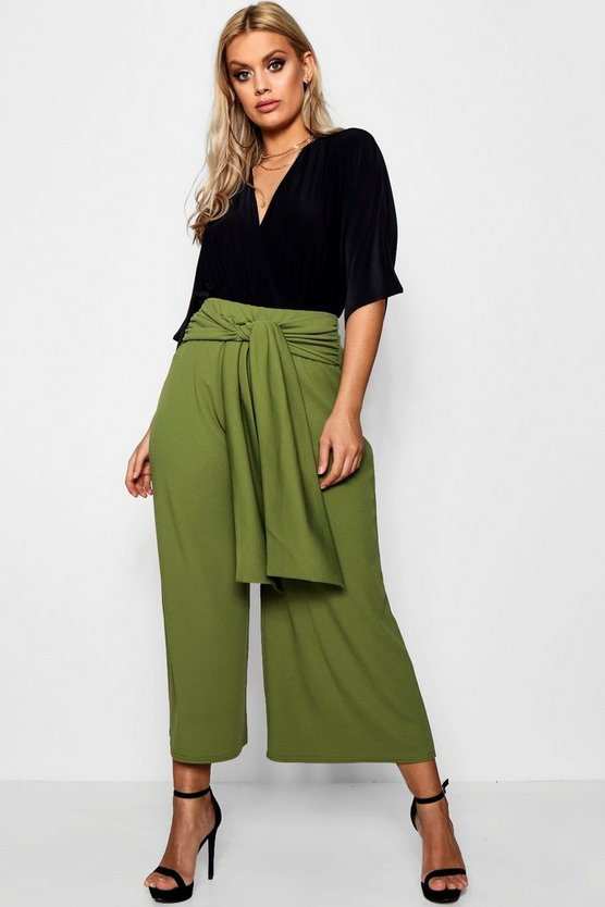 Womens Plus Tie Waist Culottes